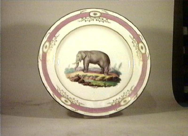 motivi decorativi vegetali e animali (piatto da portata) - manifattura Del Vecchio (sec. XIX)