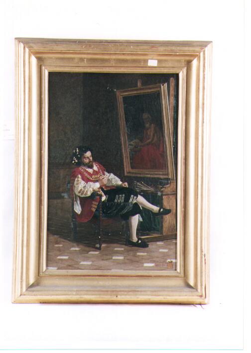 il pittore Ribera, figura maschile (dipinto) - ambito napoletano (terzo quarto sec. XIX)