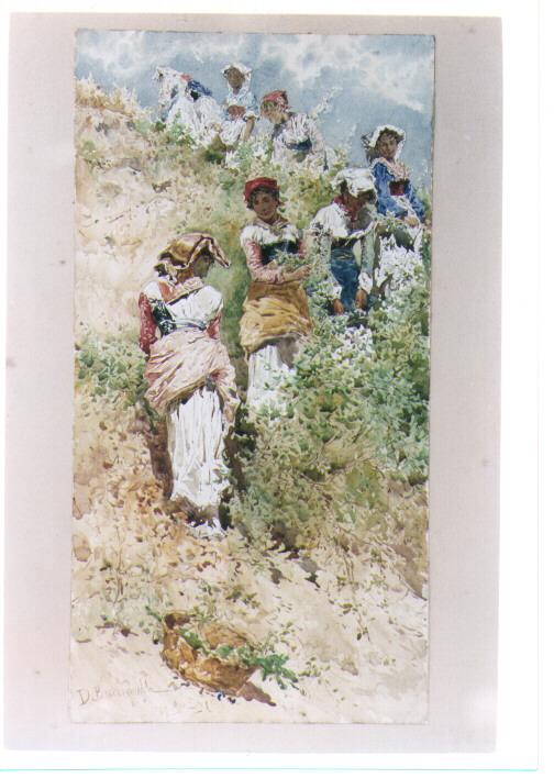 lavori campestri, scena campestre (dipinto) di Mozzillo Angelo (terzo quarto sec. XIX)