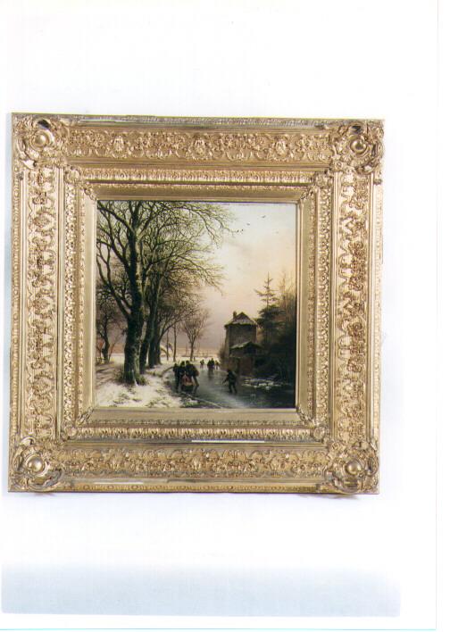 pattinaggio invernale, paesaggio (dipinto) di Koekkoek Barend Cornelius (sec. XIX)
