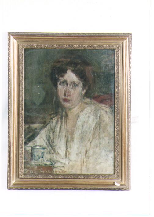 pensierosa, ritratto di donna (dipinto) di De Gregorio Francesco (sec. XX)