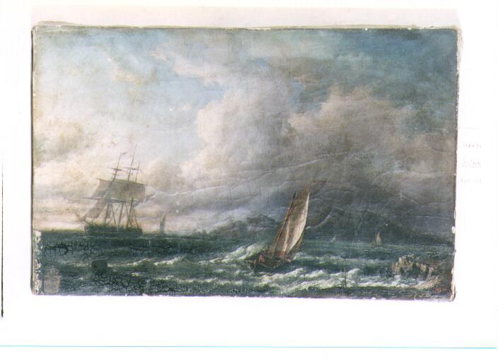 tempesta sul mare (dipinto) di Sem Hermanus Adrianus (secondo quarto sec. XIX)