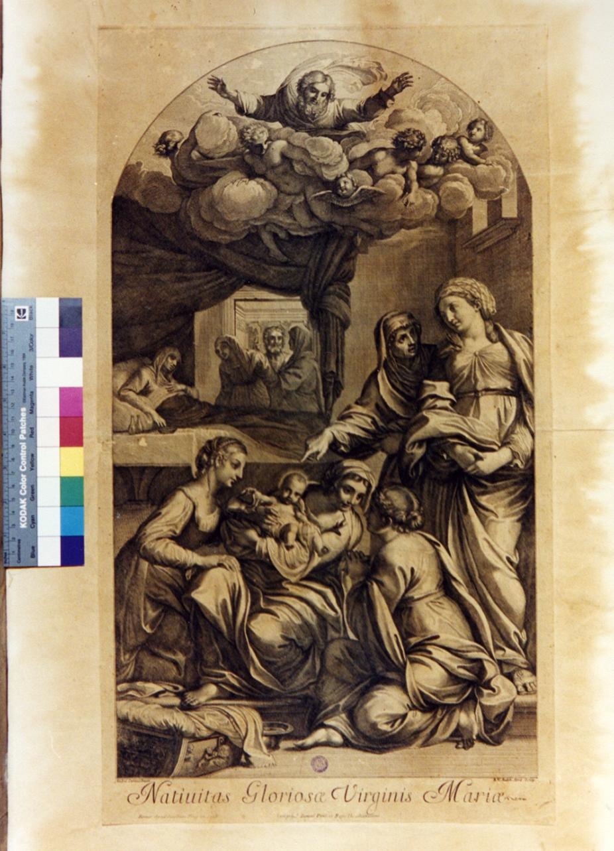 nascita di Maria Vergine (stampa) di Van Audenaerde Robert, Carracci Annibale (secc. XVII/ XVIII)