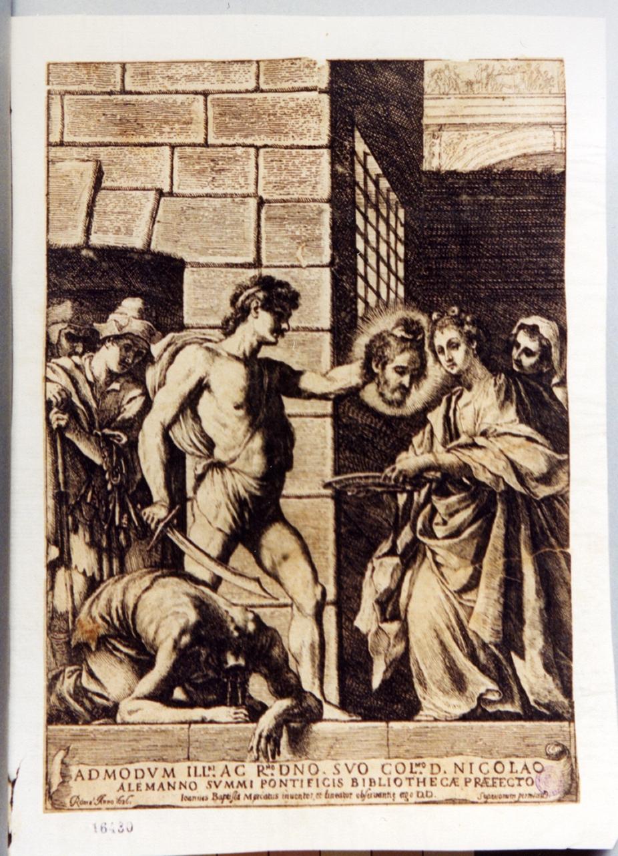 decapitazione di San Giovanni Battista (stampa) di Mercati Giovanbattista (sec. XVII)
