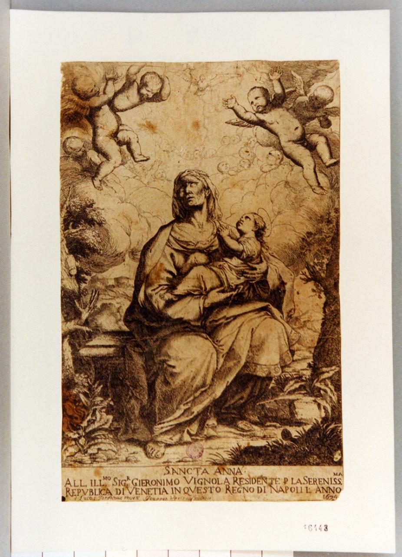 Maria Vergine bambina e Sant'Anna (stampa) di Verini Giovanni, Giordano Luca (sec. XVII)