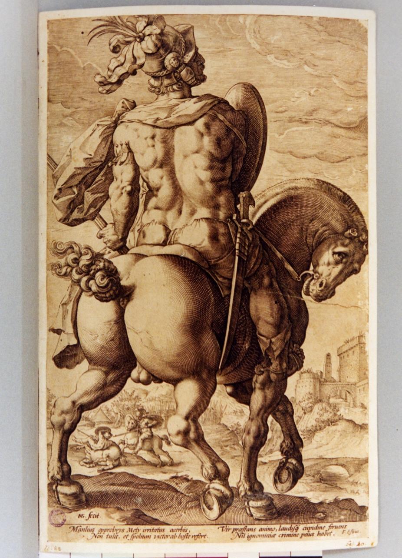Manlio a cavallo (stampa) di Goltzius Hendrick (sec. XVI)