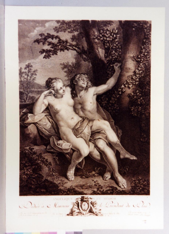 Angelica e Medoro incidono i loro nomi sulla corteccia dell'albero (stampa) di De Delaunay Nicolas, Raoux Jean (sec. XVIII)
