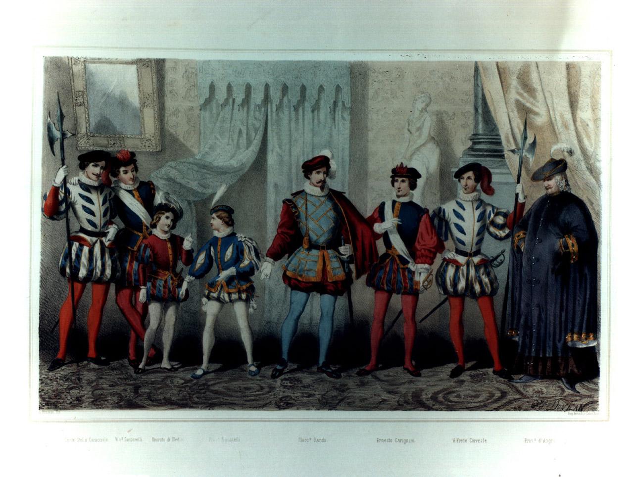 figure maschili in costume entro salone (stampa a colori, elemento d'insieme) di Donjean Gustave (sec. XIX)
