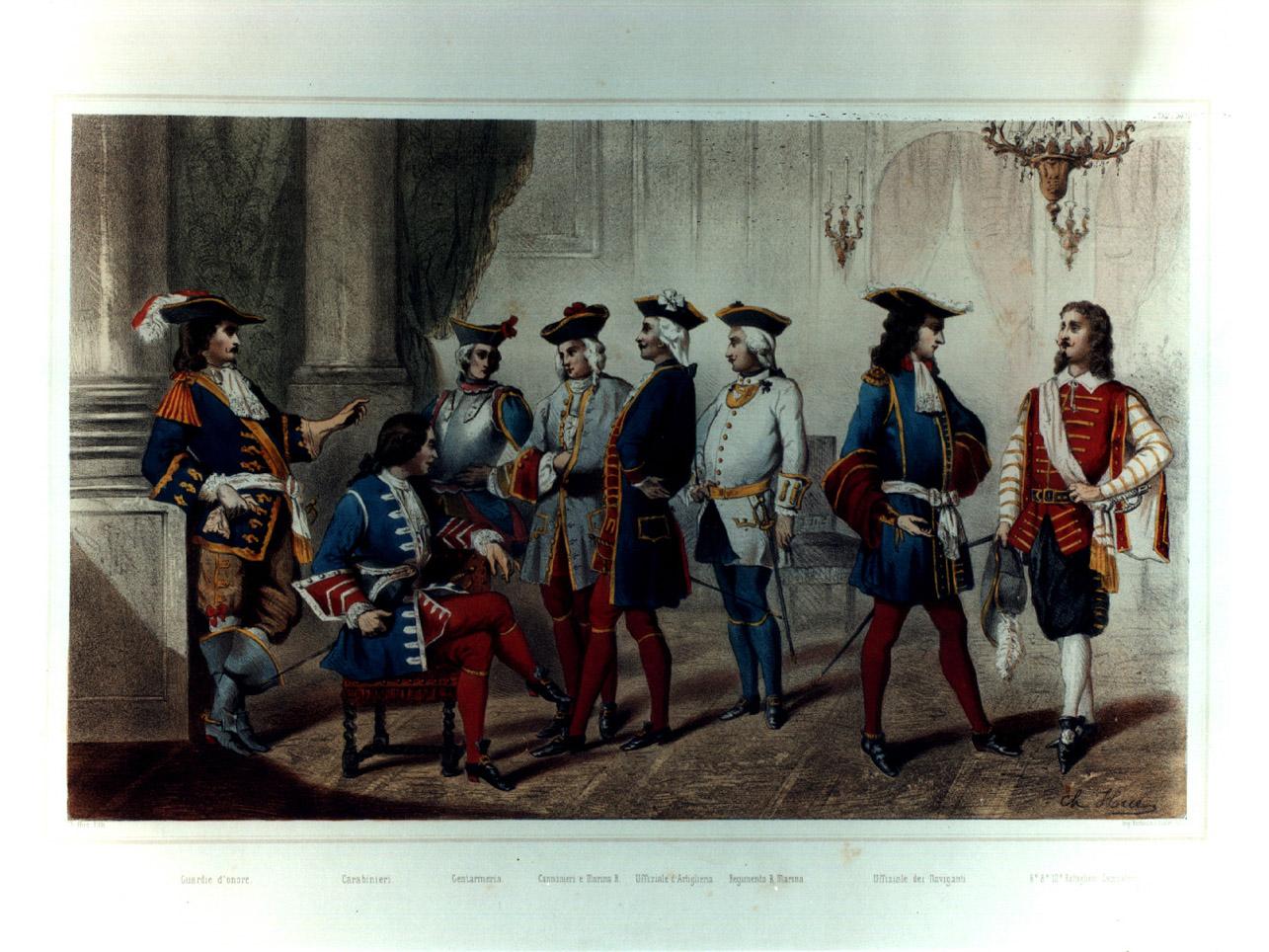 figure maschili in costumi militari entro salone (stampa a colori, elemento d'insieme) di Hue Charles Désiré (sec. XIX)