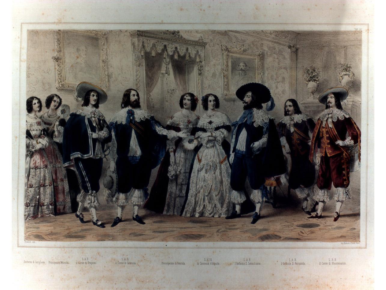 figure in costume entro salone (stampa a colori, elemento d'insieme) - ambito francese (sec. XIX)