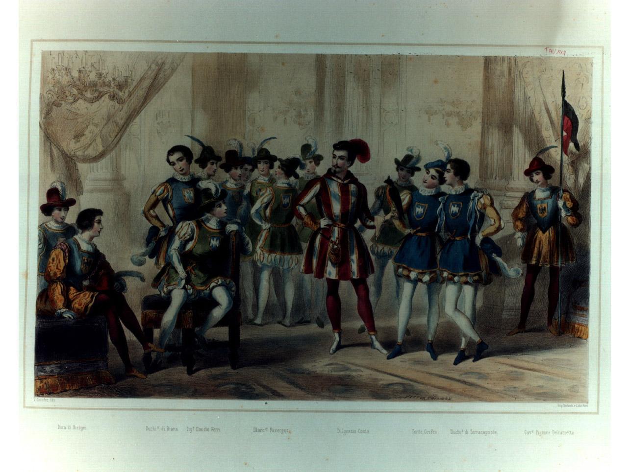 figure in costume entro salone (stampa a colori, elemento d'insieme) di Coindré Victor (sec. XIX)