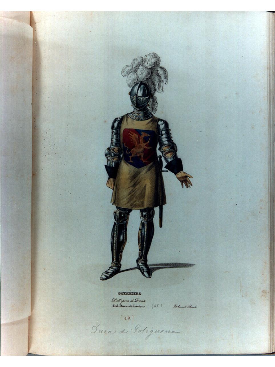 figura maschile in armatura (stampa a colori, serie) di Cuciniello Domenico, Bianchi Lorenzo, Morghen Luigi (sec. XIX)
