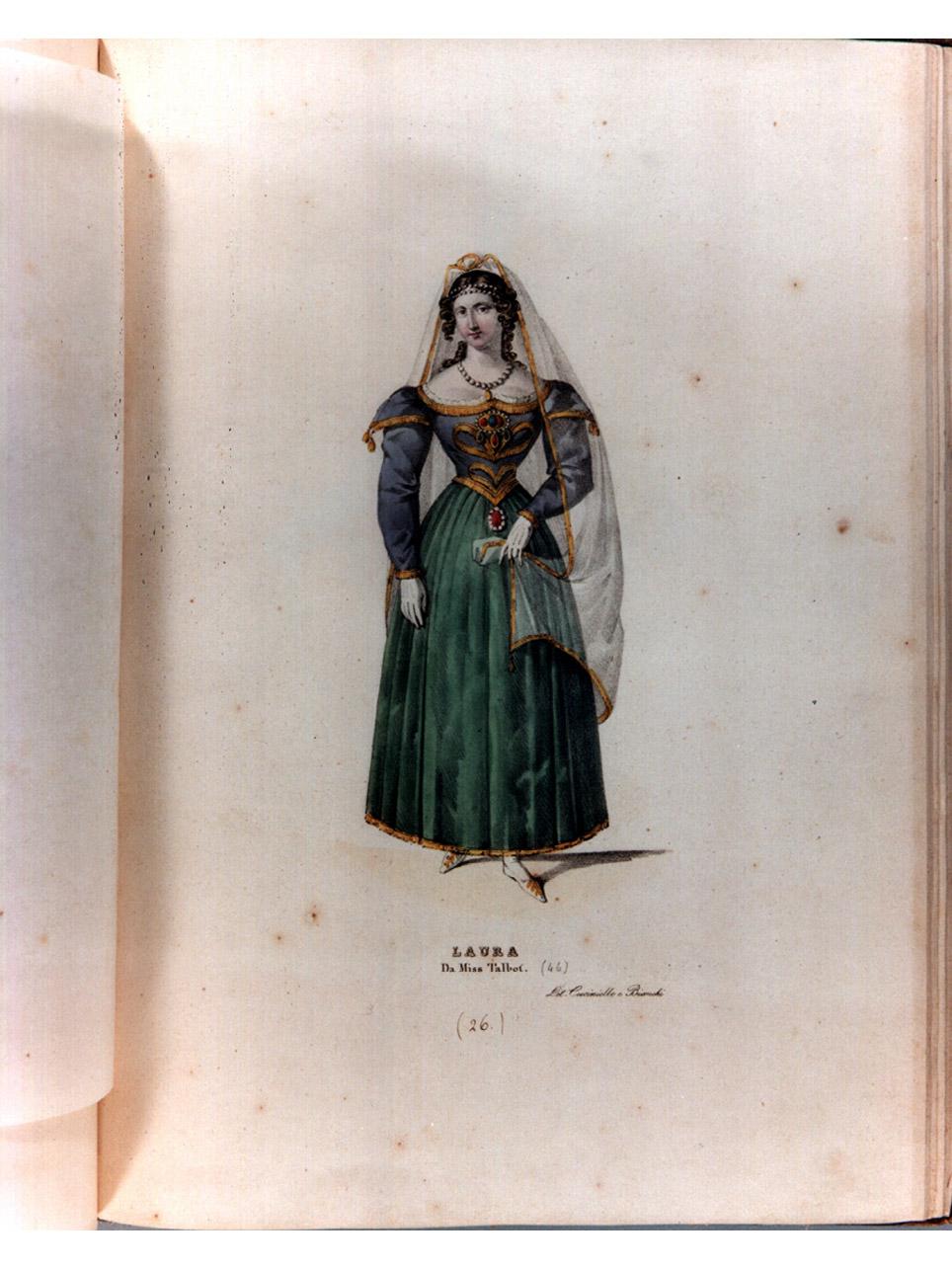 figura femminile in costume (stampa a colori, serie) di Morghen Luigi, Cuciniello Domenico, Bianchi Lorenzo (sec. XIX)