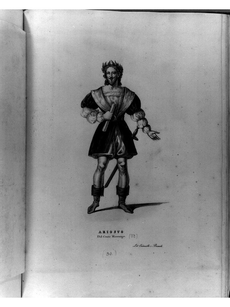 figura maschile in costume (stampa a colori, serie) di Bianchi Lorenzo, Morghen Luigi, Cuciniello Domenico (sec. XIX)
