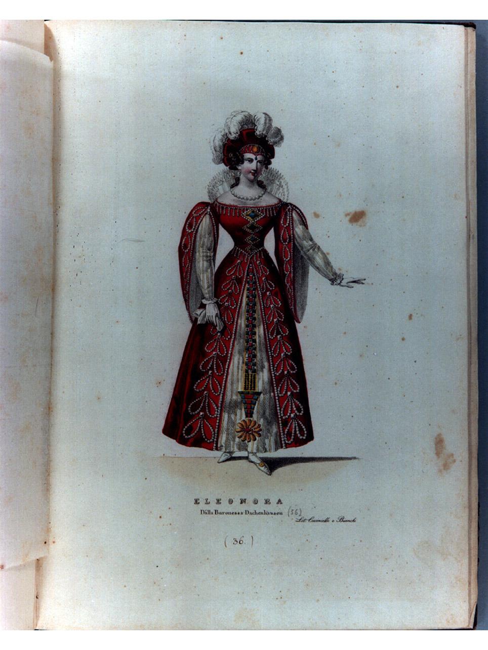 figura femminile in costume (stampa a colori, serie) di Cuciniello Domenico, Morghen Luigi, Bianchi Lorenzo (sec. XIX)