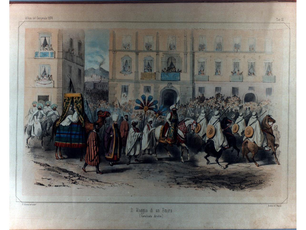 corteo carnevalesco (stampa a colori, elemento d'insieme) di Colonna Enrico, Richter Ludwig (sec. XIX)