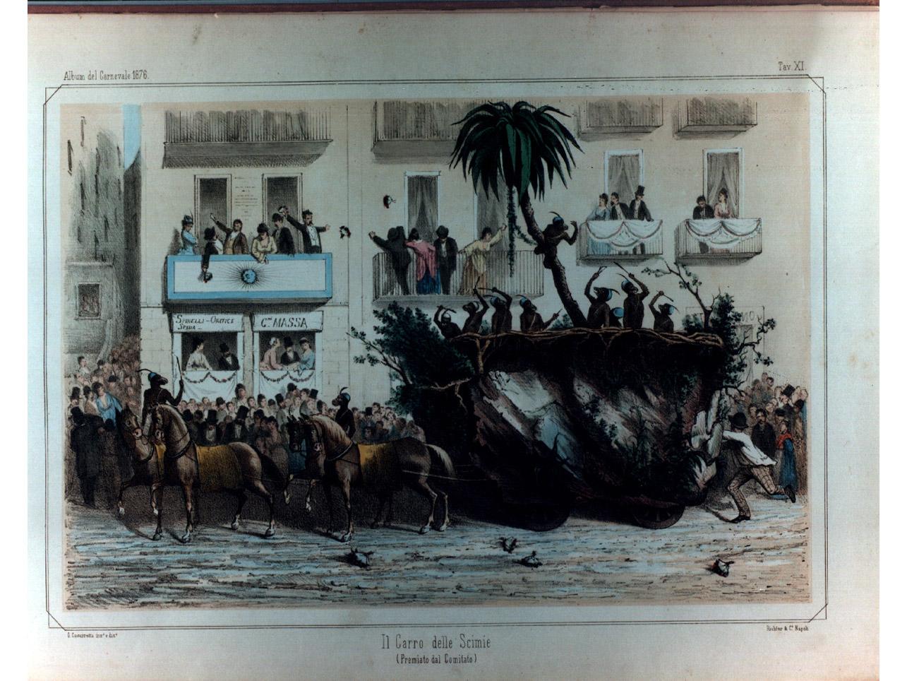 carro carnevalesco (stampa a colori, elemento d'insieme) di Richter Ludwig, Cavarretta Giuseppe (sec. XIX)
