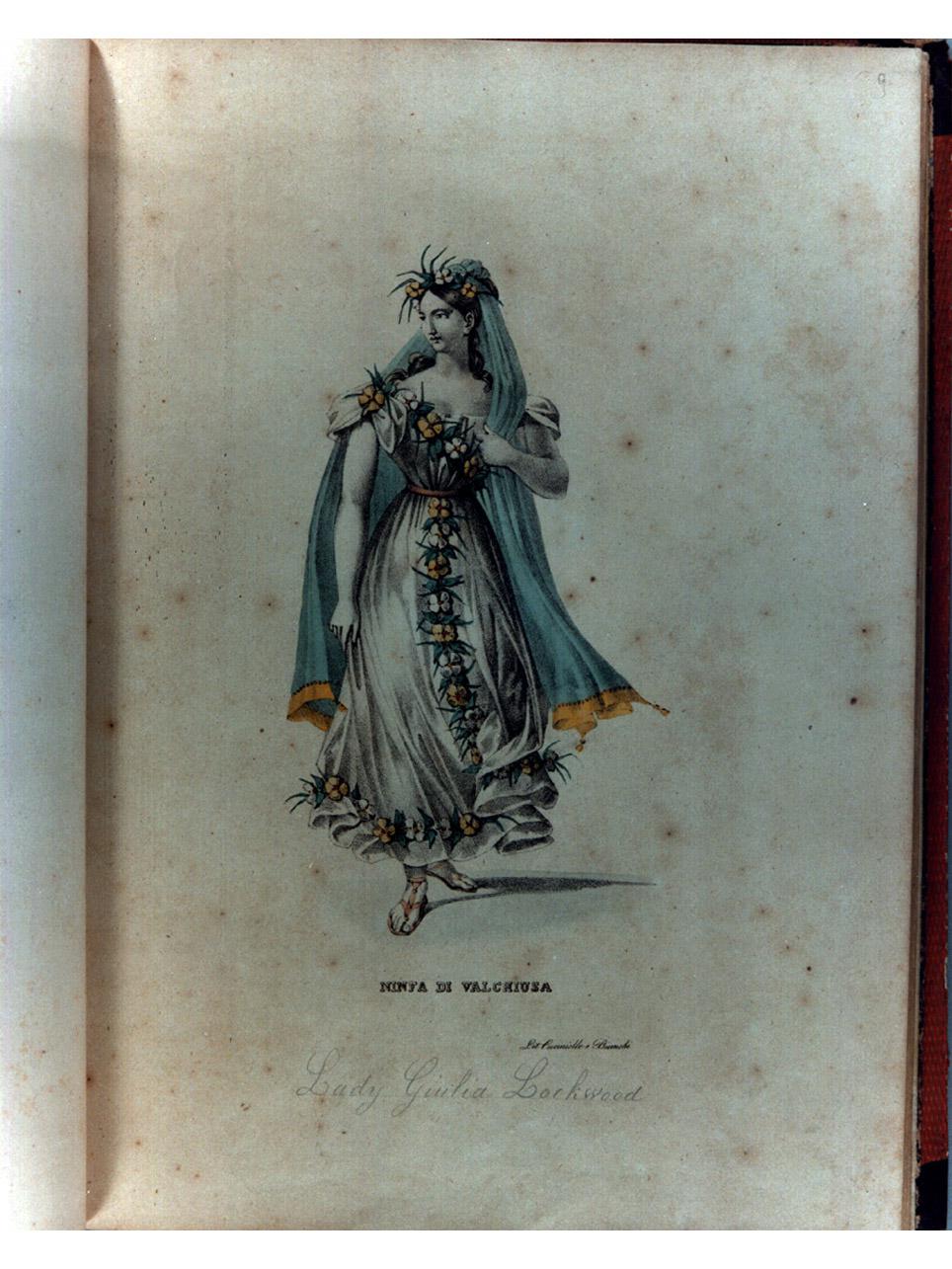 figura femminile in costume carnevalesco (stampa a colori, elemento d'insieme) di Cuciniello Domenico, Bianchi Lorenzo, Morghen Luigi (sec. XIX)