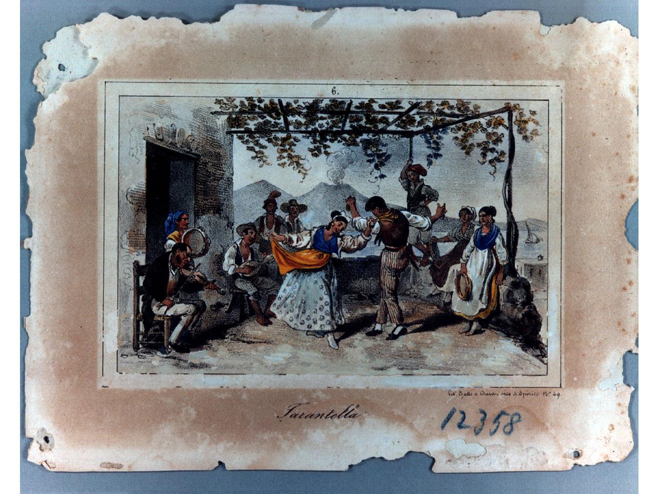 danza popolare (stampa a colori) di Dura Gaetano, Gatti Federico (sec. XIX)