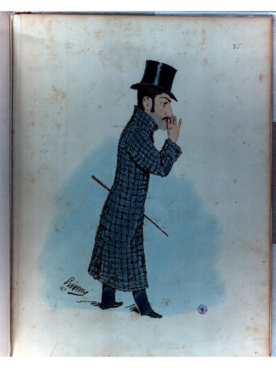 caricatura di figura maschile (stampa a colori) di Della Leonessa Enrico detto Enrico Lionne (sec. XIX)
