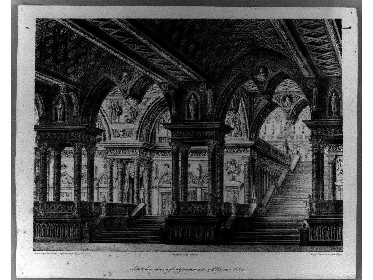 scenografia teatrale (stampa) di Canna Pasquale, Bellone Angelo (sec. XIX)