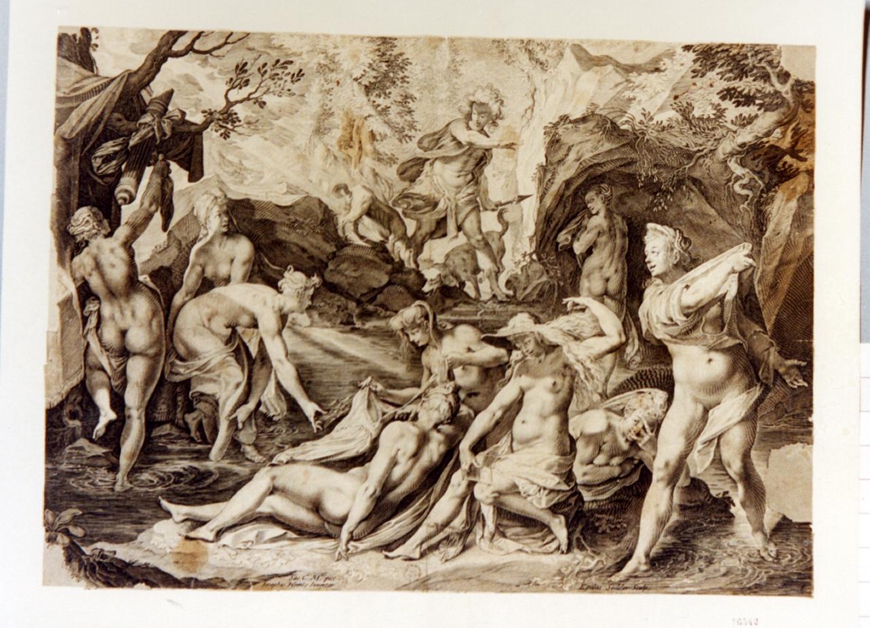 diana e le ninfe sorprese da Atteone (stampa) di Sadeler Aegidius, Heintz Joseph (secc. XVI/ XVII)