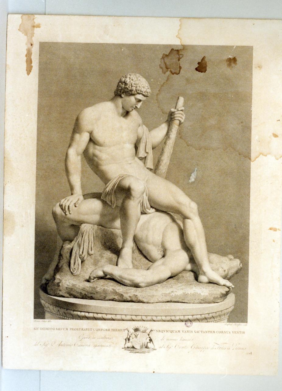 Teseo uccide il minotauro (stampa) di Morghen Raffaello (secc. XVIII/ XIX)