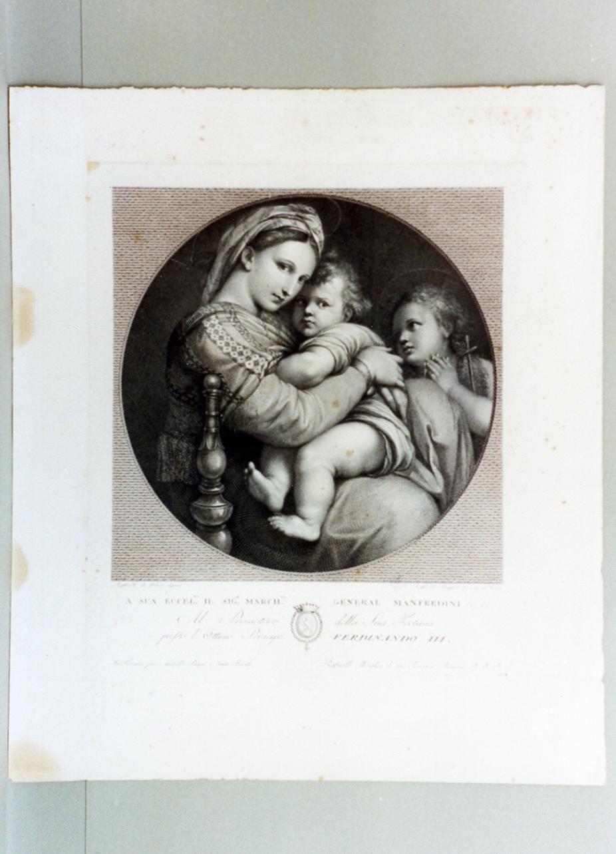 Madonna con Bambino (stampa) di Morghen Raffaello (secc. XVIII/ XIX)