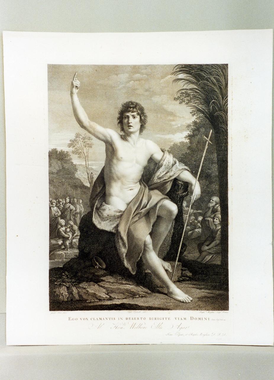San Giovanni Battista predica nel deserto (stampa tagliata) di Morghen Raffaello, Tofanelli Stefano (secc. XVIII/ XIX)