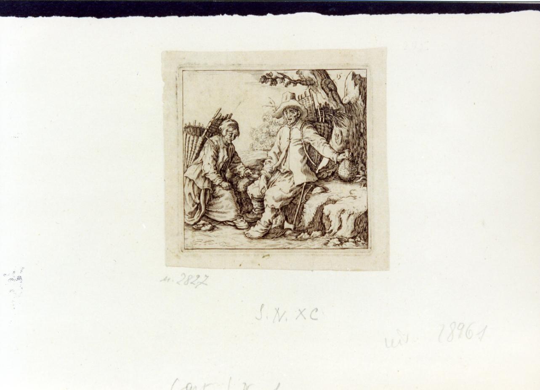 mendicanti (stampa tagliata) - ambito italiano (prima metà sec. XVII)