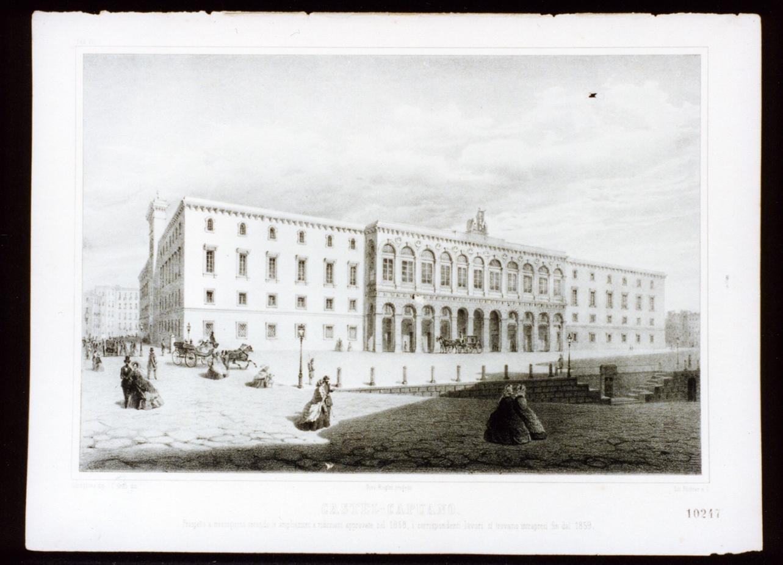 progetto del prospetto meridionale di castel Capuano a Napoli (stampa a colori) - ambito italiano (sec. XIX)