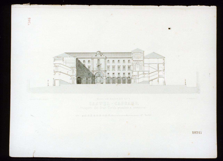prospetto del cortile di castel Capuano a Napoli (stampa) - ambito italiano (sec. XIX)