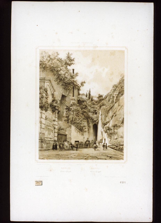 veduta della grotta di Pozzuoli (stampa a colori) di Jacottet Jean (sec. XIX)