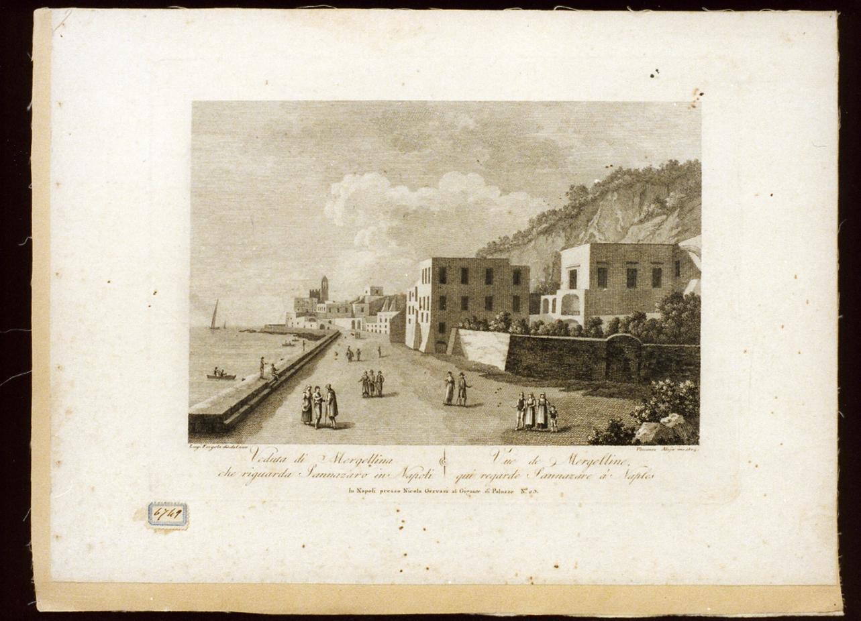 veduta di Mergellina a Napoli (stampa) di Alloja Vincenzo (sec. XIX)