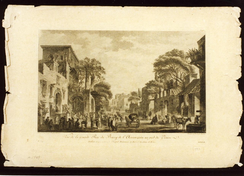 veduta di Torre Annunziata (stampa) di Duplessi Bertaux Jean, Helman Isidore Stanislas Henri (sec. XVIII)