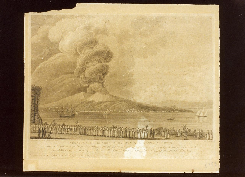 veduta del Vesuvio in eruzione (stampa) di Alloja Vincenzo (fine sec. XVIII)