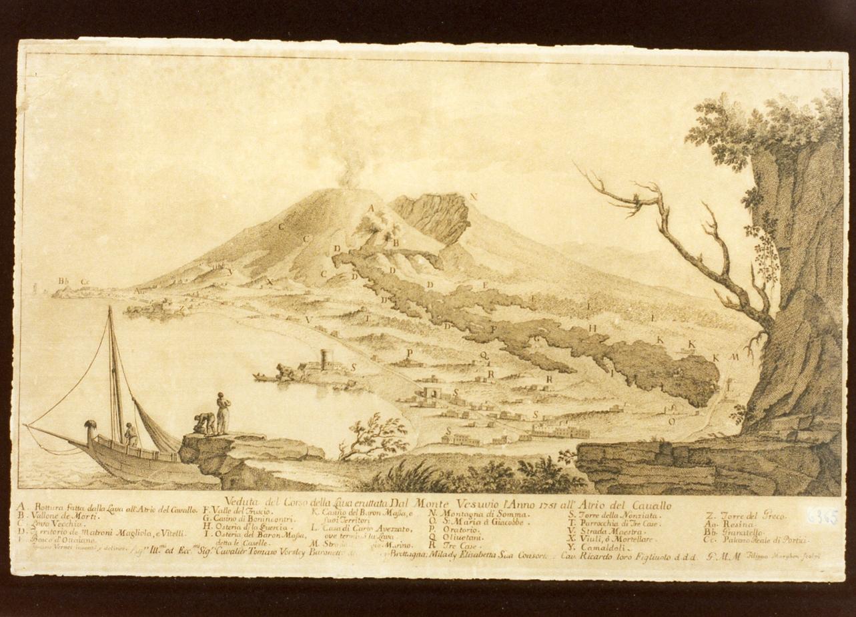 veduta del Vesuvio in eruzione (stampa) di Morghen Filippo (seconda metà sec. XVIII)