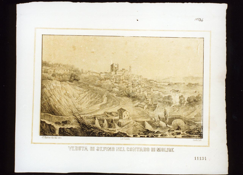 veduta di Sepino (stampa a colori) - ambito italiano (metà sec. XIX)