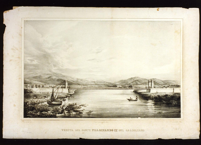 veduta di ponte Ferdinando II sul Garigliano (stampa) - ambito italiano (sec. XIX)