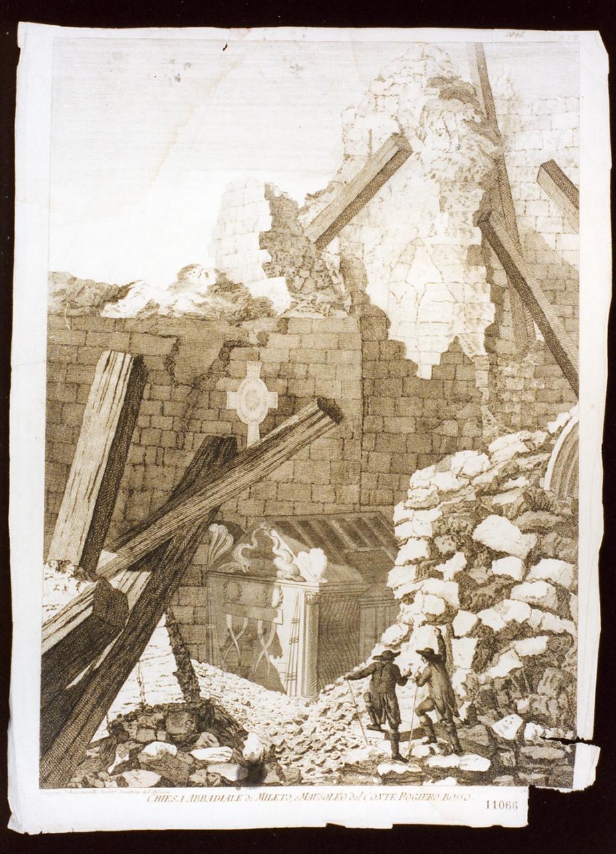 veduta della chiesa abbadiale di Mileto (stampa tagliata) di Zaballi Antonio (sec. XVIII)