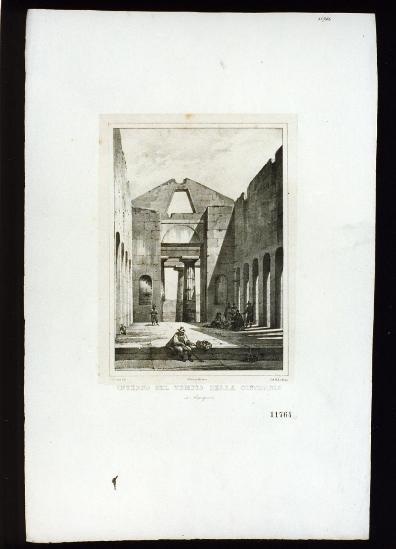 veduta col tempio della Concordia ad Agrigento (stampa) - ambito italiano (secondo quarto sec. XIX)