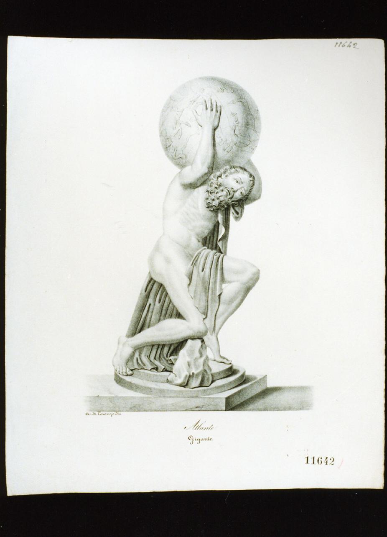 Atlante che sostiene il globo terrestre (stampa) - ambito italiano (metà sec. XIX)