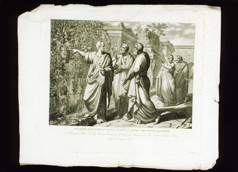 Cicerone scopre la tomba di Archimede Pitagorico (stampa) di De Vivo Tommaso (sec. XIX)