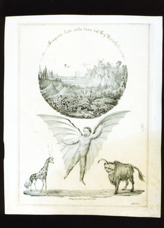 paesaggio e animali fantastici (stampa) - ambito napoletano (terzo quarto sec. XIX)