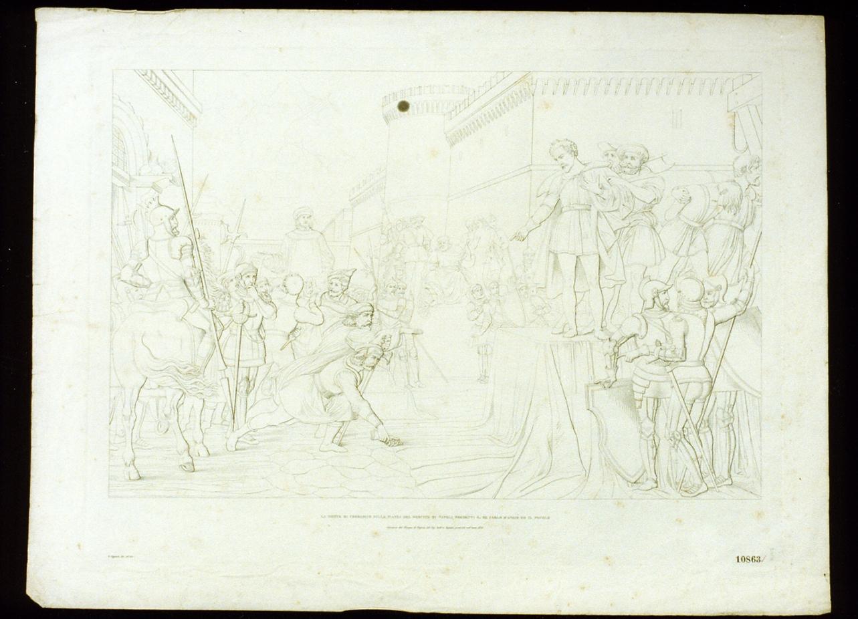 decapitazione di Corradino di Svevia (stampa) - ambito italiano (sec. XIX)