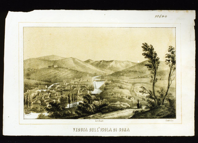 veduta di Sora (stampa a colori) - ambito italiano (metà sec. XIX)