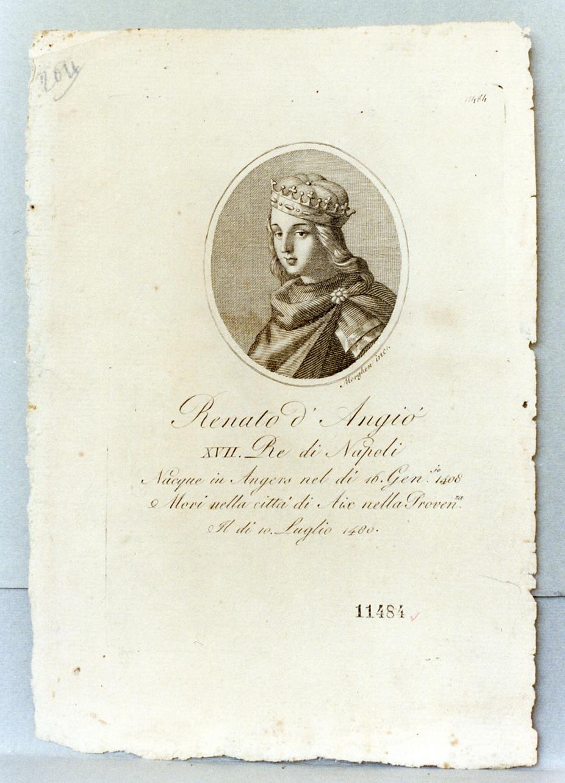 ritratto di re Renato d'Angiò (stampa) di Morghen Guglielmo (prima metà sec. XIX)