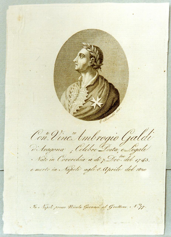 ritratto di Ambrogio Galdi (stampa tagliata) di Biondi Carlo (prima metà sec. XIX)