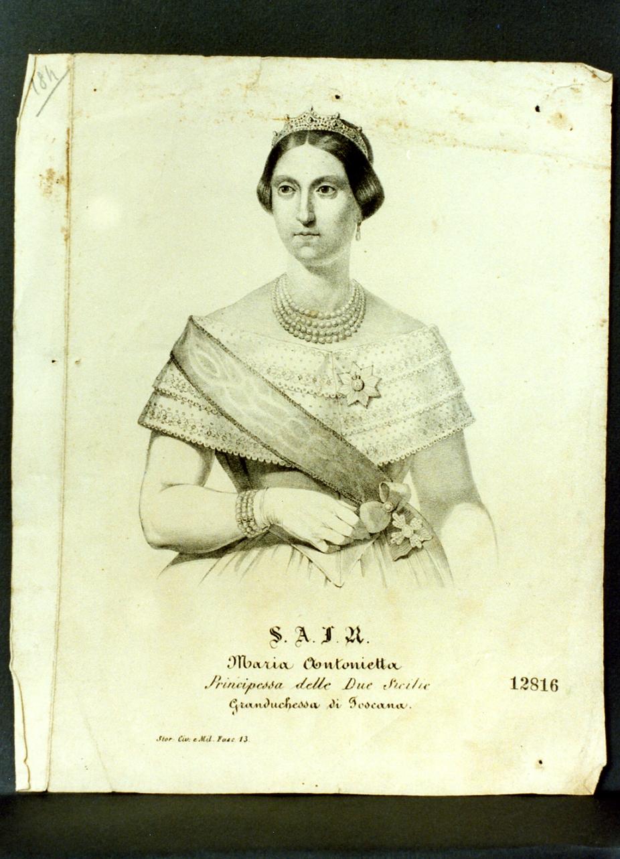 ritratto della principessa Maria Antonietta (stampa) - ambito napoletano (seconda metà sec. XIX)