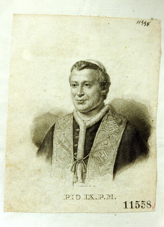 ritratto di papa Pio IX (stampa) di Marcucci Giuseppe (sec. XIX)